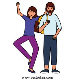happy young people flat design