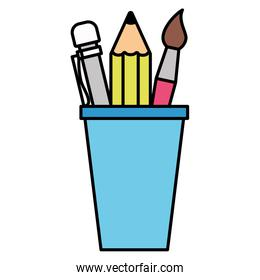 back to school cup with pencils paintbrush