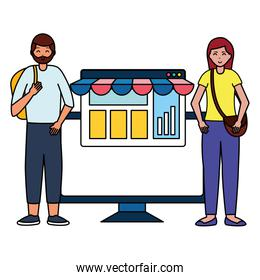 man and woman online shopping commerce