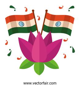 indian flags and lotus flower independence day
