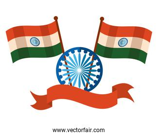 indian flags with ashoka chakra independence day