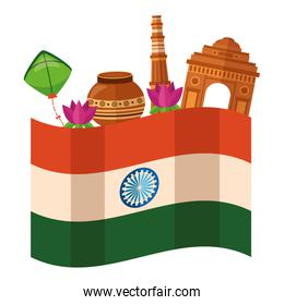 indian flag independence day with buildings and folk icons