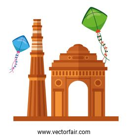 indian gateway with kites flying independence day icon