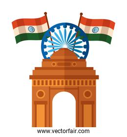 indian flags with ashoka chakra and gate building