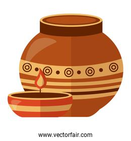 indian ceramic pot with candle flame