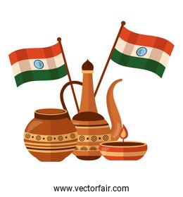 indian ceramic pots with candle and flags