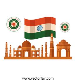taj mahal indian and mosques with flag
