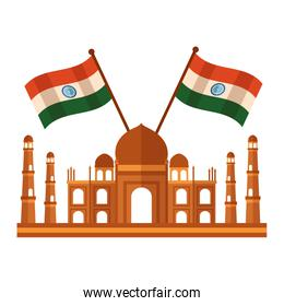 taj mahal indian mosque with flags crossed