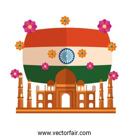 taj mahal indian mosque with flag and flowers