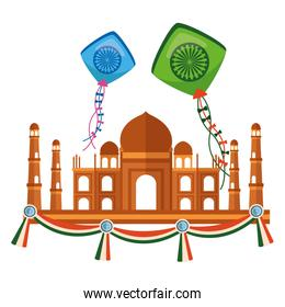taj mahal indian mosque with kites flying