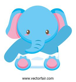 cute little elephant baby character