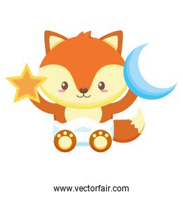 cute little fox baby with moon and star toys