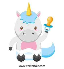 cute little unicorn with pacifier baby character