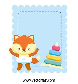 cute little fox baby with rings toy in card
