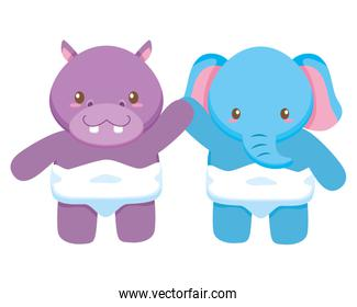 cute little elephant and hippo babies characters