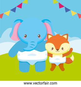 cute little elephant with fox babies characters