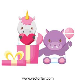 cute little hippo and unicorn with love gift
