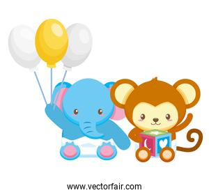 cute little elephant and monkey with balloons helium