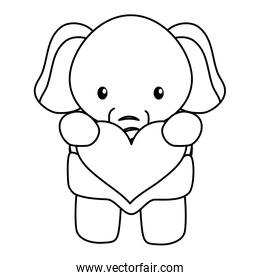 cute little elephant baby with heart love character