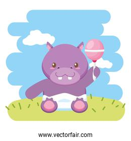 cute little hippo with maraca character