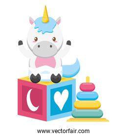 cute little unicorn with rings and block