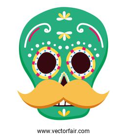 day of the dead celebration skull mask with mustache