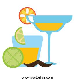 margarita cocktail mexican drink with mustache