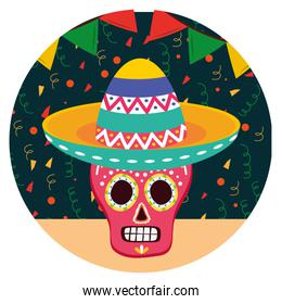 day of the dead celebration skull mask with mexican hat