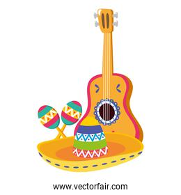 mexican hat with guitar and maracas