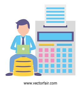 elegant young businessman with calculator