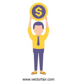 elegant young businessman lifting coin