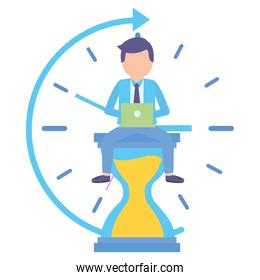 elegant young businessman with hourglass