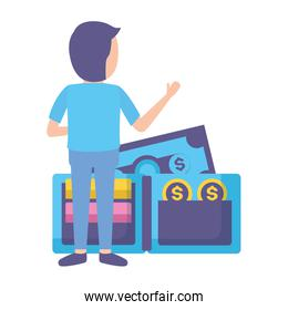 elegant young businessman with wallet money