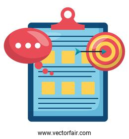 checklist clipboard document with target and speech bubble