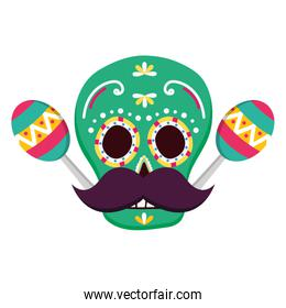 day of the dead skull mask with mustache and maracas