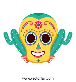 day of the dead celebration skull mask and cactus
