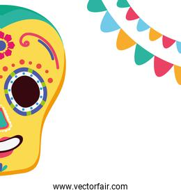 day of the dead celebration skull mask with garlands