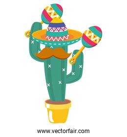 cactus plant with mexican hat and mustache playing maracas