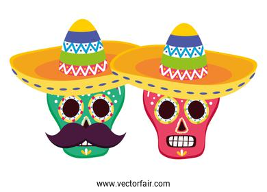 day of the dead skulls masks with mexican hat