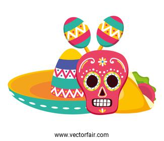 day of the dead skull mask with mexican hat and maracas