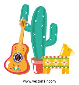 cactus plant with guitar and pinata