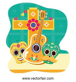 day of the dead celebration skulls masks with guitar and cross