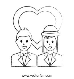 lovers couple with heart characters