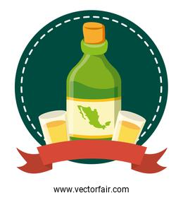 tequila bottle with cups icon