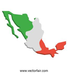 mexico map geography isolated icon
