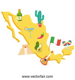 mexico map with set cultural icons