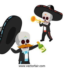 mexican skulls mariachis with trumpet and tequila bottle