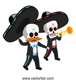 mexican skulls mariachis playing trumpet