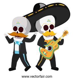 mexican skulls mariachis funny characters
