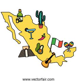 mexico map with set cultural items